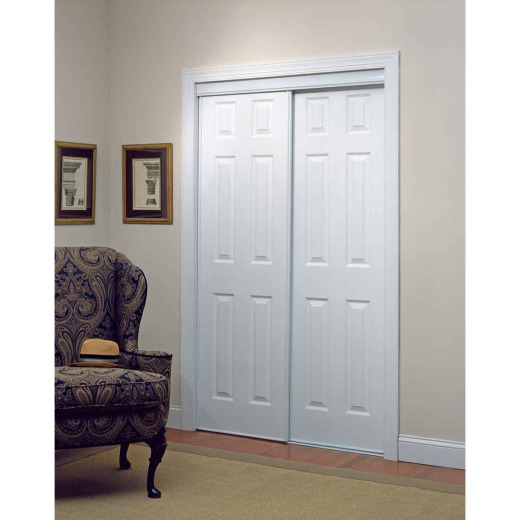 Erias 106 Series 59 In. W. x 80-1/2 In. H. White Vinyl Clad 6-Panel Bypass Door