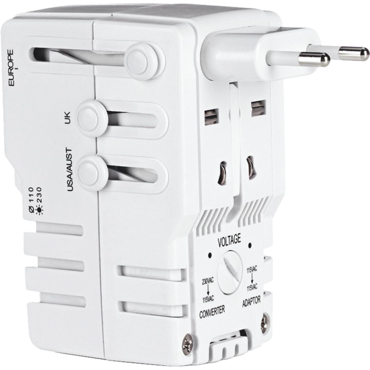 Franzus Travel Smart 2-Blade All-In-One Foreign Plug Adapter Combination Unit Image 1