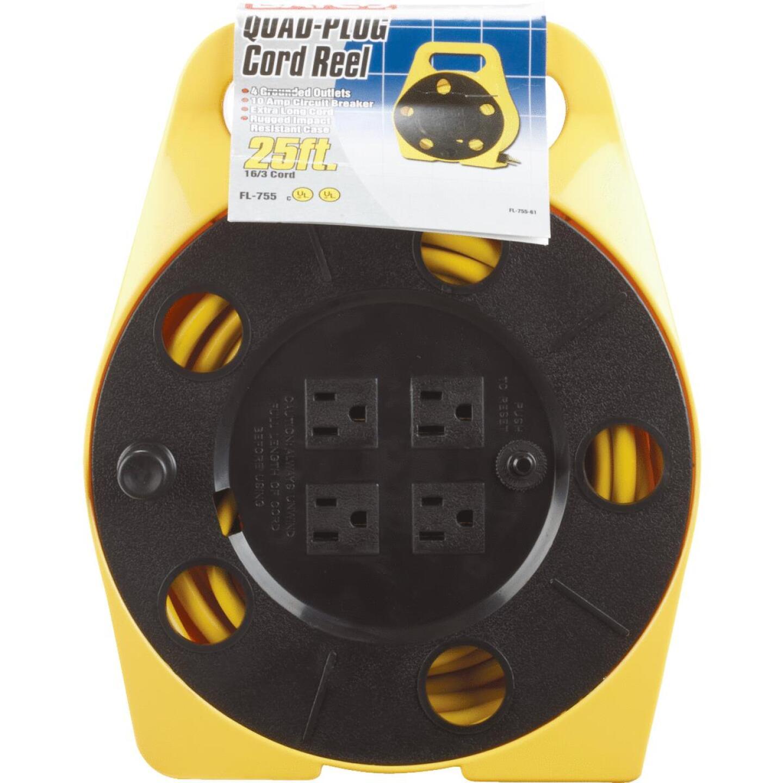 Bayco 25 Ft. of 16/3 Cord Capacity Polypropylene Multi-Plug Cord Reel Image 1